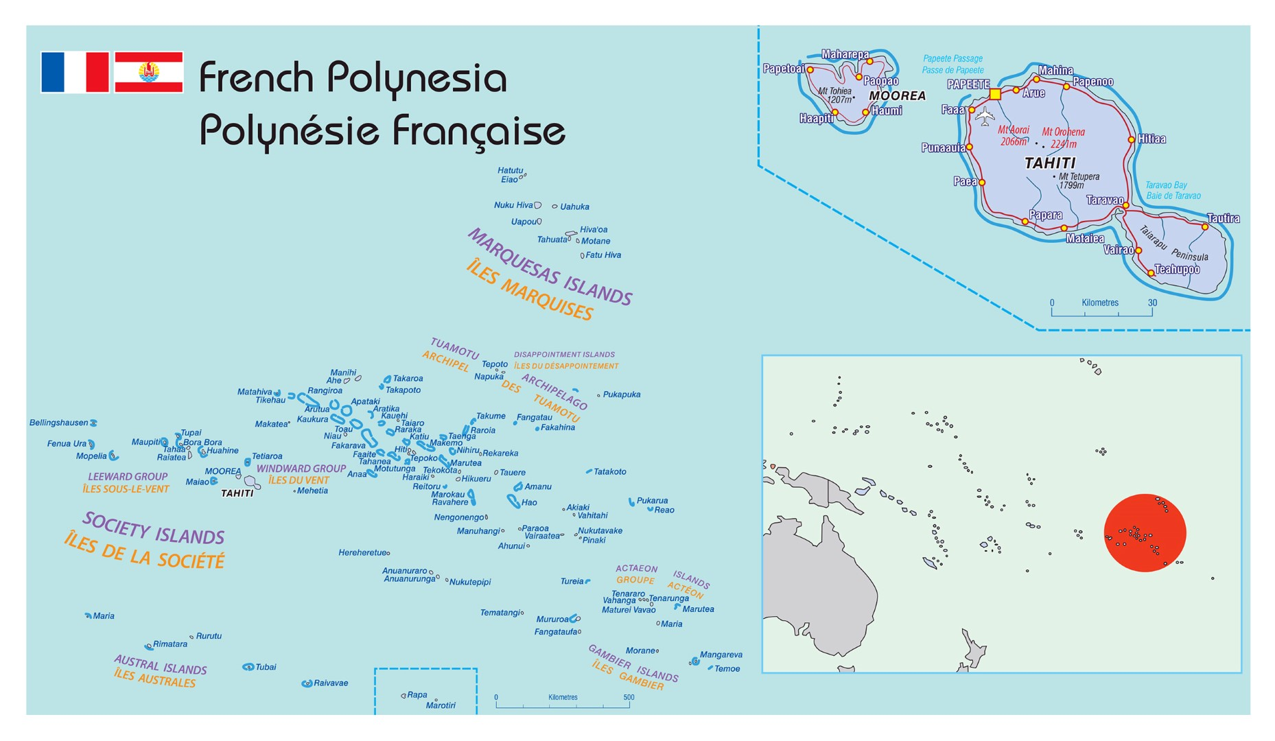 Map Of French Polynesia Map of French Polynesia   Tahiti Crew Agency